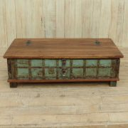 k13-RSO-48 indian furniture trunk coffee table storage blue wooden feet