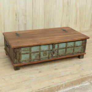 k13-RSO-48 indian furniture trunk coffee table storage blue sea green