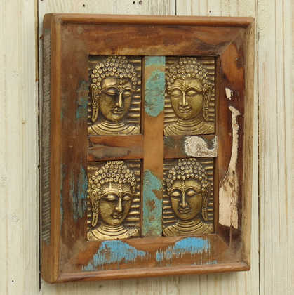 k13-RSO-52 indian picture wooden reclaimed 4 buddha metal brass