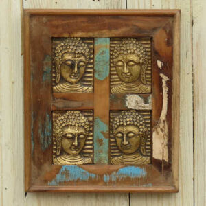 k13-RSO-52 indian picture wooden reclaimed 4 buddha metal distressed