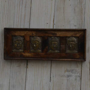 k13-RSO-53 indian picture wooden reclaimed 4 buddha metal long brass wide