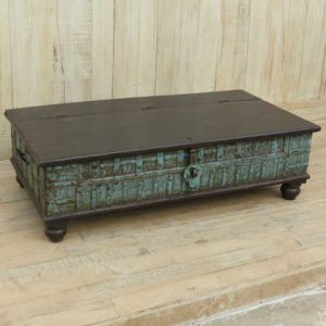k13-RSO-60 indian furniture trunk coffee table blue vintage hardwood
