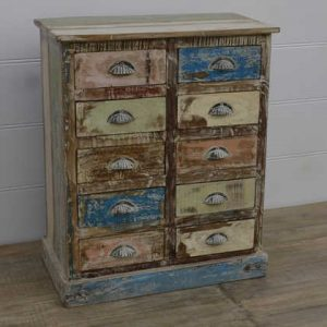 k13-RSO-69 indian furniture chest of 10 drawers reclaimed colourful wooden blue