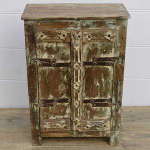 k13-RSO-73 indian cabinet vintage door small cupboard wood metal work