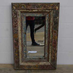 k13-RSO-81 indian furniture mirror vintage unusual stunning wooden brahmin