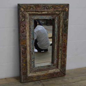 k13-RSO-81 indian furniture mirror vintage unusual stunning wooden temple