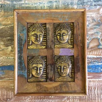k13-RSO-52 indian picture wooden reclaimed 4 buddha metal