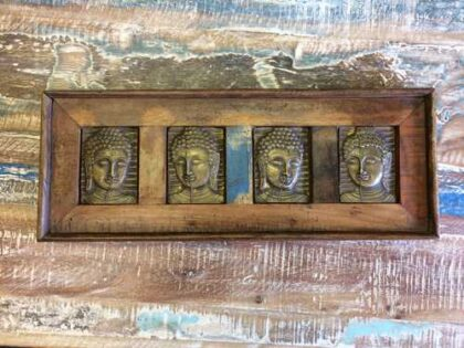 k13-RSO-53 indian picture wooden reclaimed 4 buddha metal long