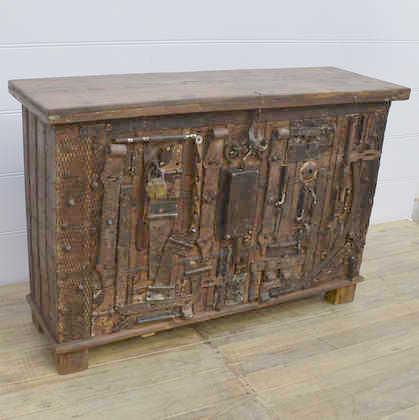 k13 RSO 72 indian furniture sideboard unusual locks metal wooden angle