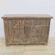 k13 RSO 72 indian furniture sideboard unusual locks metal wooden front