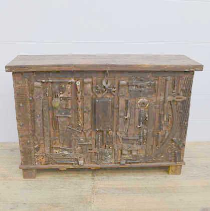 k13 RSO 72 indian furniture sideboard unusual locks metal wooden front