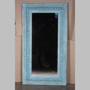 k63-40190 indian furniture mirror blue spindle large jodhpur blue