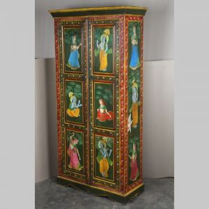 k63-40191 indian furniture cabinet hand painted figures green red