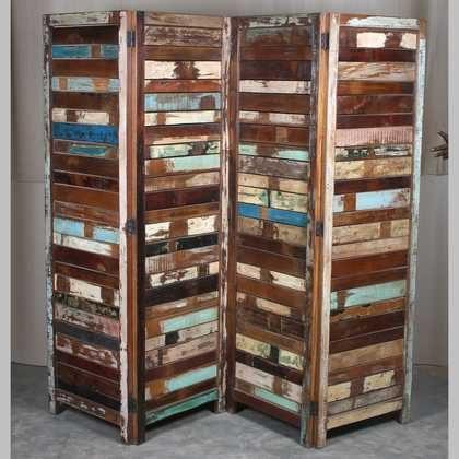 k63-40209 indian wooden reclaimed screen slatted room divider
