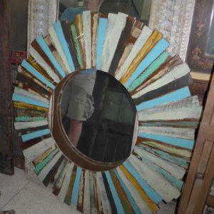 k63-40211 indian furniture mirror reclaimed sunburst colourful round large paint