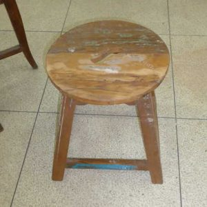 k63-40222 indian furniture stool reclaimed small round blue