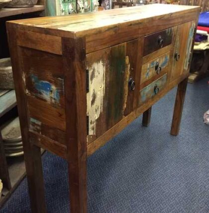 k63 40226 indian furniture console table storage drawers cupboard reclaimed angle