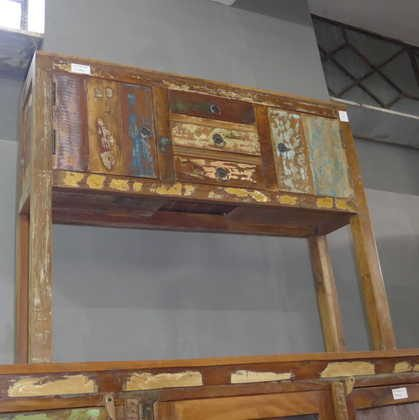 k63-40226 indian furniture console table storage drawers cupboard reclaimed compact