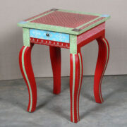 k63-40238 indian furniture table side hand painted drawer floral