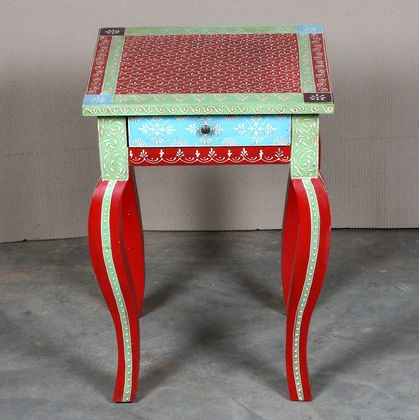 k63-40238 indian furniture table side hand painted drawer occasional