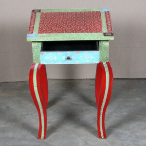 k63-40238 indian furniture table side hand painted drawer cabriole