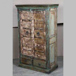 k63-40295 indian furniture cabinet vintage green 2 drawer panel