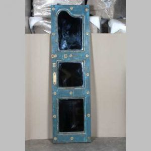 k63-40330 indian mirror table blue paneled glass unusual