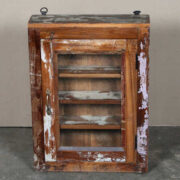 k63-40462 indian cabinet wall shelved shallow reclaimed pink