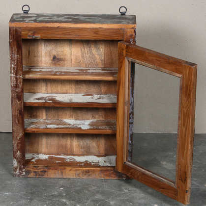 k63-40462 indian cabinet wall shelved shallow reclaimed knick knack