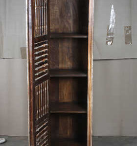 k63-40507 indian furniture cabinet narrow spindle tall reclaimed