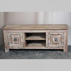k63-40599 indian furniture tv cabinet large unusual natural robust