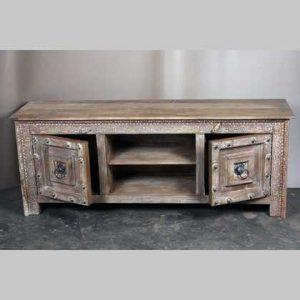 k63-40599 indian furniture tv cabinet large unusual natural stud work