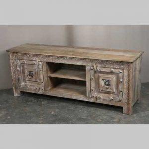 k63-40599 indian furniture tv cabinet large unusual natural television