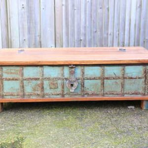 kh13-rso-48 indian furniture trunk coffee table storage banding green wooden