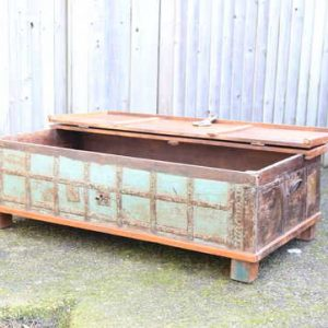 kh13-rso-48 indian furniture trunk coffee table storage banding green lift lid