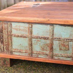 kh13-rso-48 indian furniture trunk coffee table storage banding green metal
