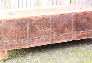 kh13-rso-48 indian furniture trunk coffee table storage banding green rustic