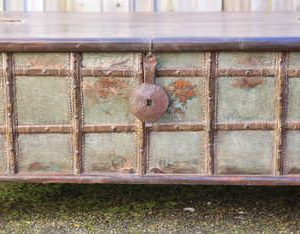kh13-rso-62 indian furniture trunk coffee table old storage metal work