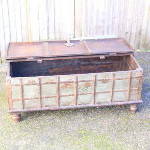 kh13-rso-62 indian furniture trunk coffee table old storage lift lid