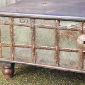 kh13-rso-62 indian furniture trunk coffee table old storage bun feet