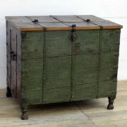 kh14-rs18-009 indian furniture trunk green large storage carved feet