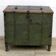 kh14-rs18-009 indian furniture trunk green large storage rustic