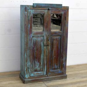 kh14-rs18-010 indian furniture cabinet distressed glass unusual