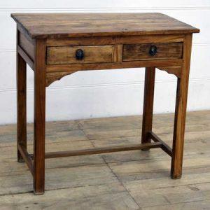 kh14-rs18-031 indian furniture desk table 2 drawer teak