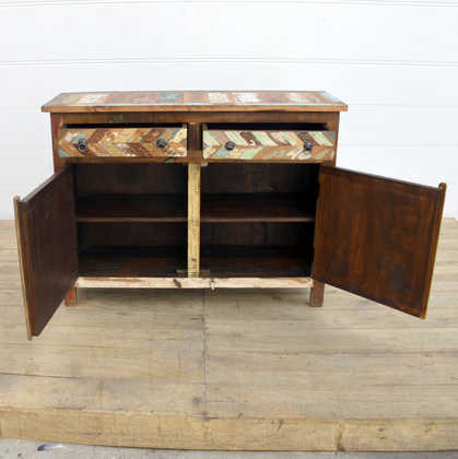 kh14-rs18-047 indian furniture reclaimed herringbone cabinet open