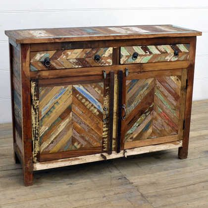 kh14-rs18-047 indian furniture reclaimed herringbone cabinet angle