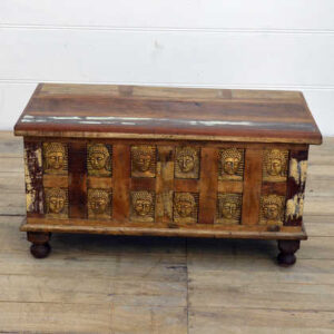 kh14-rs18-048 indian furniture reclaimed buddha trunk brass