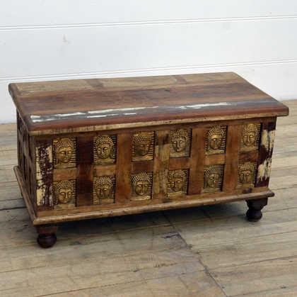 kh14-rs18-048 indian furniture reclaimed buddha trunk bun feet