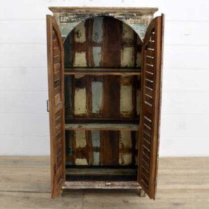 kh14-rs18-062 indian furniture whitewash slat curved door cabinet open