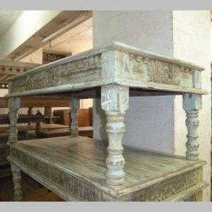 kh14-rs18-076 indian furniture coffee table carved blue